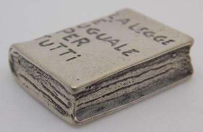 Vintage Solid Silver Book Miniature - Stamped - Made in Italy - Dollhouse