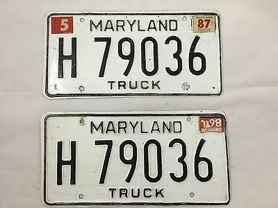 Set of 1987 Maryland Truck License Plates Black and White H 79036