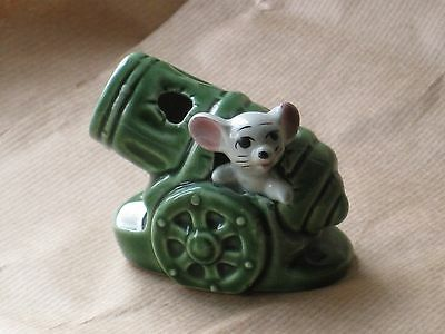 MOUSE in a GREEN CANNON. of the FOOT IN FOOT OUT SERIES Ceramic Pottery Figure.