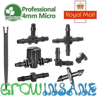Antelco 4mm Micro Irrigation Pipe Tube Fitting Barbed Garden Watering Connector
