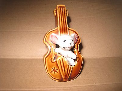 MOUSE in a STANDING CELLO. of the FOOT IN FOOT OUT SERIES Ceramic Pottery Figure