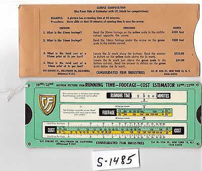 Motion Picture Film Calculator, slide chart, VG cond, (S1485)