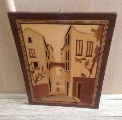 Italian Inlayed Wooden Pictures Marquetry/Mosaic/Folk Art 1930's pair