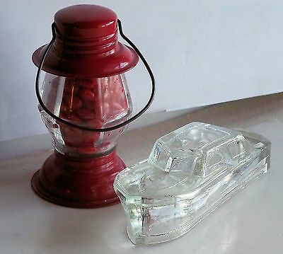 LOT OF TWO! Vintage boat & lantern toy glass candy containers