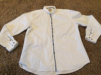 "Mens White And Black Long Sleeved Slim Fit Shirt Size 17"" Collar From Next"