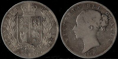 narkypoon's GOOD MIDDLE GRADE 1886 Queen Victoria 925 STERLING SILVER Half-Crown