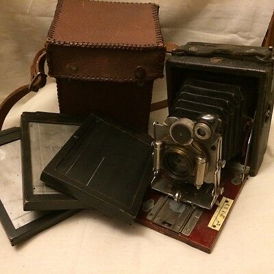 HOUGHTON TUDOR 'No.5 Folding Plate Camera c.1904-1908 with case/plates - Rare