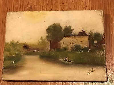 Antique Vintage Winsor & And Newton Miniature Old Oil Painting On Canvas Signed