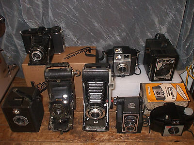 Job lot of 8x Vintage Cameras. Kenilworth, Kodak, Ensign Ful-Vue, Coronet & Agfa
