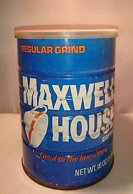 Vintage MAXWELL HOUSE Coffee Can 1lb Tin Metal Tin Kitchen Tin BLUE Metal Litho