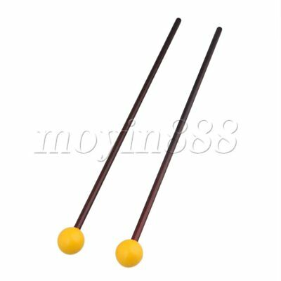 15 Inch Yellow Plastic Head Maple Handle Bell Stick Mallet Set of 2