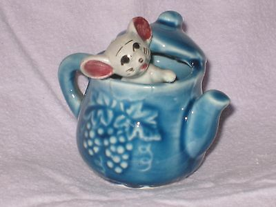 MOUSE in a BLUE COFFEE POT  of the Foot in Foot out Ceramic Pottery Figurine.