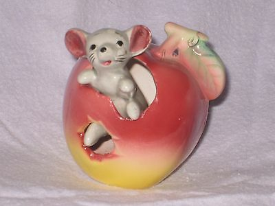 MOUSE in a ROSY RED APPLE of FOOT IN FOOT OUT SERIES Ceramic Pottery Figurine.