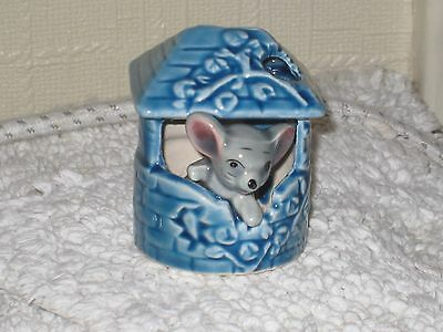 MOUSE in a BLUE WELL  of the FOOT IN FOOT OUT SERIES  Ceramic Pottery Figure.
