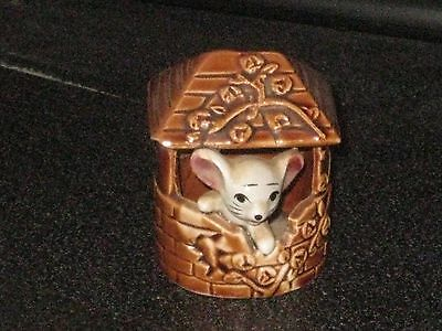 MOUSE in a BROWN WELL  of the FOOT IN FOOT OUT SERIES  Ceramic Pottery Figurine.