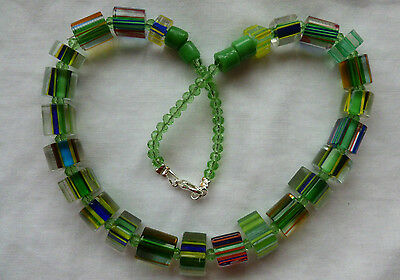 Vintage Style  Green Furnace Cane Glass Bead Necklace
