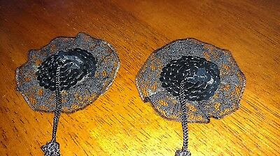 Vintage Black Sequin and Lace Lingerie Nipple Tassels Pasties Breast Stickers
