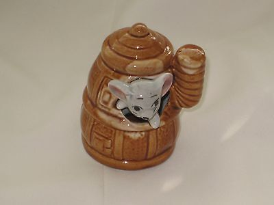 MOUSE in a BROWN POT BELLIED STOVE  Foot In Foot Out Ceramic Pottery Figurine.
