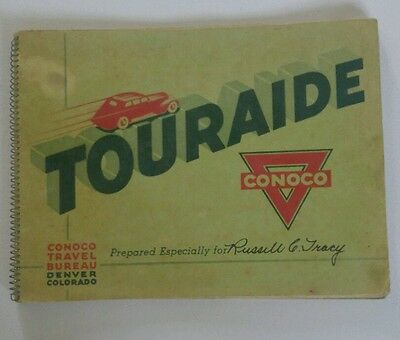 Vintage 1938 Personalized Conoco Oil Touraide Travel Book With Letter & Stickers