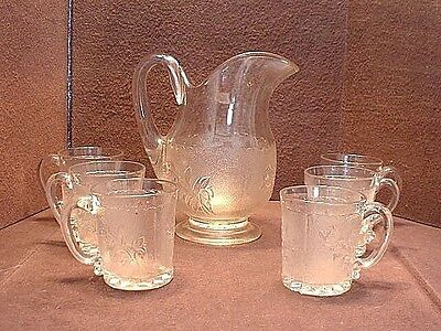 Very RARE 7 Pc Antique Rose-In-Snow Waterset With Blown Applied Handles