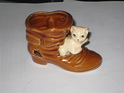 MOUSE in a  CAT in a BROWN BOOT.Ceramic Pottery Ornament.