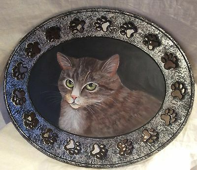 Cute Primitive Cat Painting In Oval Cat Paw Decorated Frame