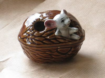 MOUSE in a BROWN WALLNUT of the FOOT IN FOOT OUT SERIES Ceramic Pottery Figure.