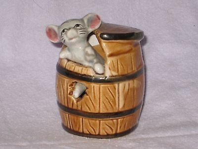 MOUSE in a BROWN BARREL of the FOOT IN FOOT OUT SERIES Ceramic Pottery Figure.