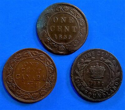 Canada 1 cent coins, 1859, 1872, 1914