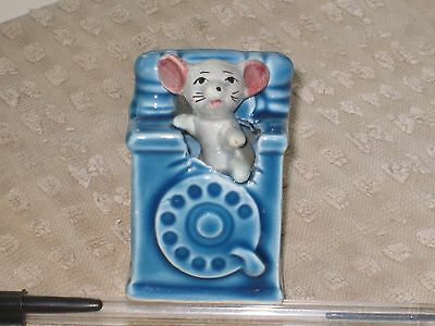 MOUSE in a BLUE TELEPHONE  of the Foot in Foot out Ceramic Pottery Figurine.