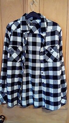 black and white check shirt size small