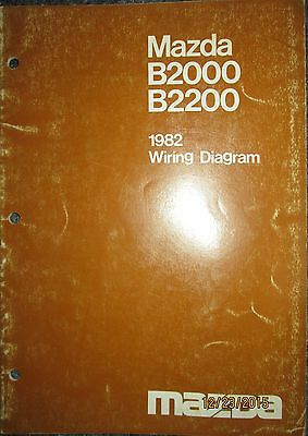 1982 mazda b 2000 & b 2200 truck wiring diagram booklet manual factory  original