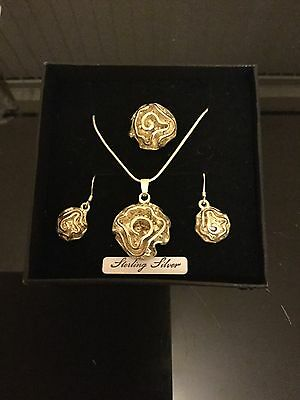 Ladies 925 Silver Necklace,Earrings And Ring Set