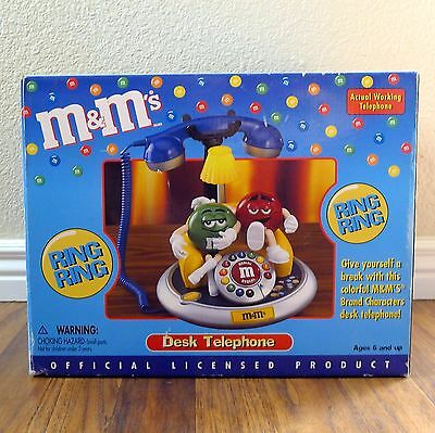 New M&M Animated Talking Telephone Touch Tone Desk Phone Green, Blue & Red NIB