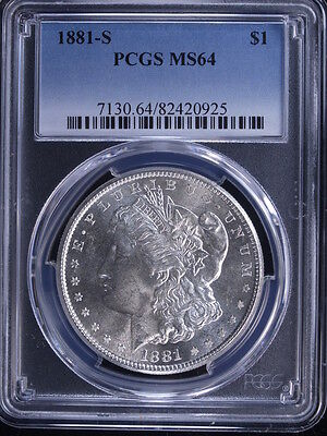 1881-S $1 Morgan Silver Dollar PCGS MS64