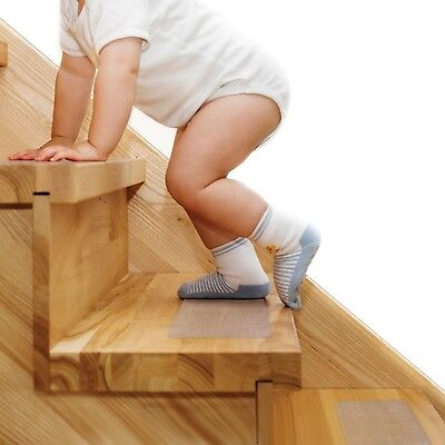 Steady Treads - Set of 10 PVC-Free Non-Slip Clear-Opaque Adhesive Stair Tread...
