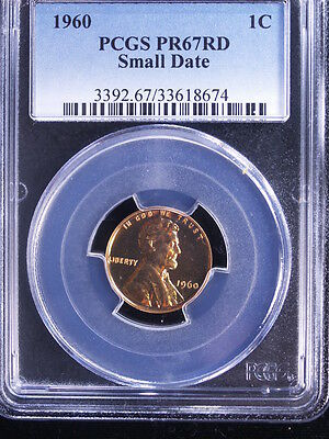 1960 1C Small Date RD (Proof) Lincoln Cent PCGS PR67 Red