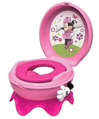 Minnie Mouse Baby Potty Train System 3 in 1 Toilet Seat Toddler Chair Girls NEW