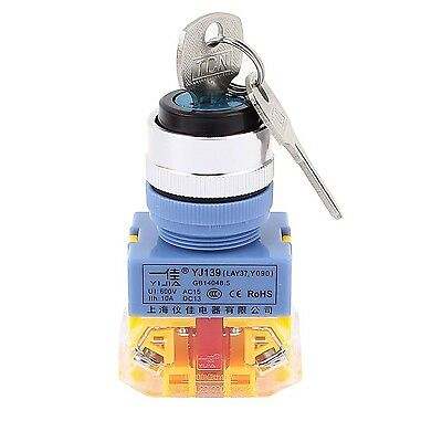 Uxcell AC 600V 10A 2 Positions Self Locking Rotary Selector Switch with Keys
