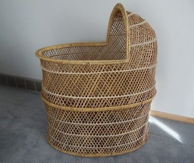 Vintage Wicker/Rattan Mid-Century Modern Baby Bassinet-LOCAL PICK UP ONLY