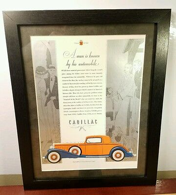 Vintage CADILLAC Advertising (authentic) **1932**  - CUSTOM MATTED/FRAMED