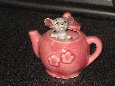 MOUSE in a PINK TEA POT  A BIT RARE  Foot in Foot out Ceramic Pottery Figurine.