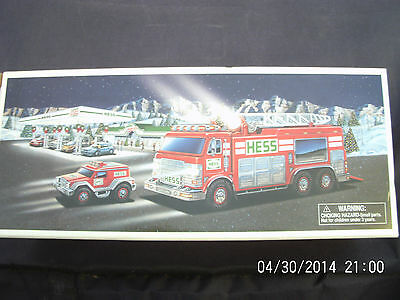 2005 Hess EMERGENCY TRUCK WITH RESCUE VEHICLE, NEW IN THE BOX