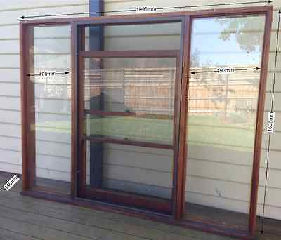 TIMBER WINDOW - Fixed / Double hung / Fixed - 1535h x 1996w - HW joinery