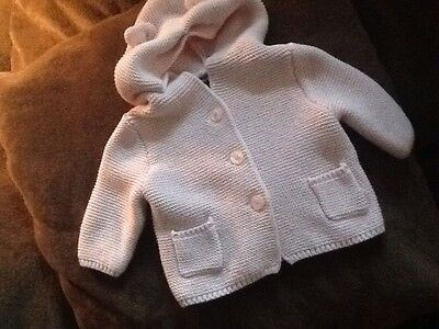 baby girl gap pink hooded sweater with bear ears size 0-3 months
