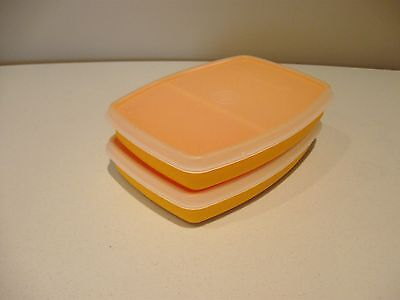 TUPPERWARE vintage 2 packette divided lunch containers yellow gold with lids