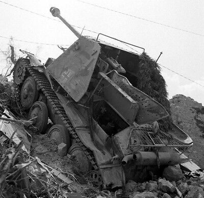 WW2 Photo WWII  Destroyed German Armor in Italy 1944 World War Two  / 4131