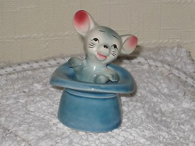 LARGE MOUSE in a LARGE BLUE TOP HAT  Ceramic Pottery Figure.