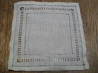 """Vintage Antique Hand Drawn Linen Doily  7"""" X 7"""" 19320's 1930's  Lovely"""