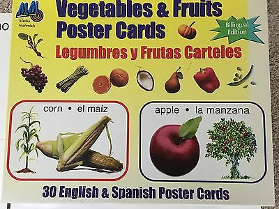 """Bilingual Poster Cards Vegetables & Fruits Spanish & English 30 cards 14 x 11"""""""